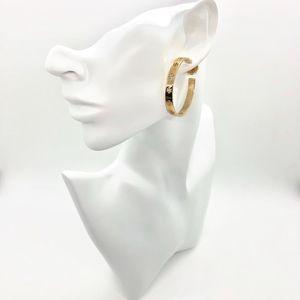 Tory Burch Pierced T Logo Hoop Earrings Gold